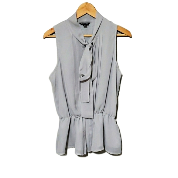 Ruched tie front dove gray sleeveless top blouse